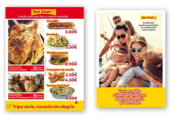 Cartelería interior y exterior de Del Chef con imagen real de productos