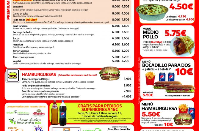 Carta del restaurante de comida a domicilio Del Chef en Granada exterior
