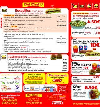 Dorso de la carta Del Chef a domicilio en Granada y pueblos
