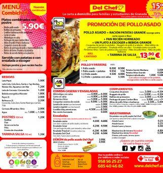 Cara de la carta Del Chef a domicilio en Granada y pueblos