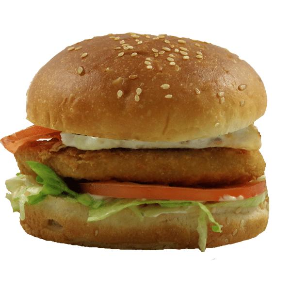 Foto de hamburguesa de pollo empanado