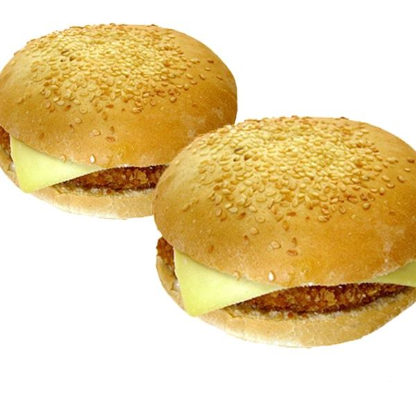 foto de 2 hamburguesas ternera y pollo empanado
