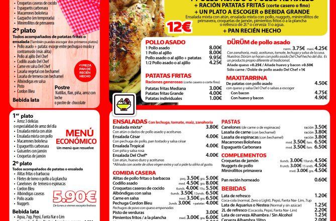 Carta del restaurante de comida a domicilio Del Chef en Granada interior