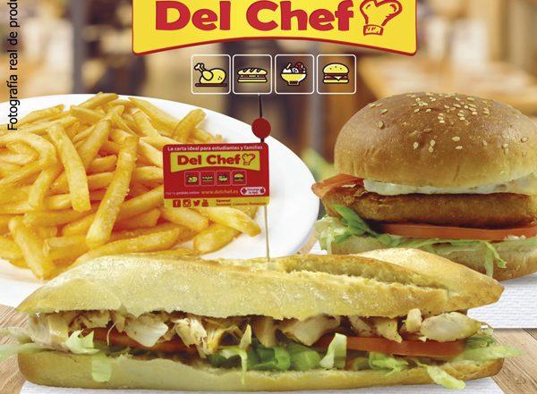 Foto de bocadillo y hamburguesa con patatas